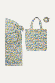 Faithfull The Brand Floral-print cotton pareo, tote and hair tie set