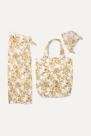 Faithfull The Brand Floral-print cotton pareo, tote and headscarf set