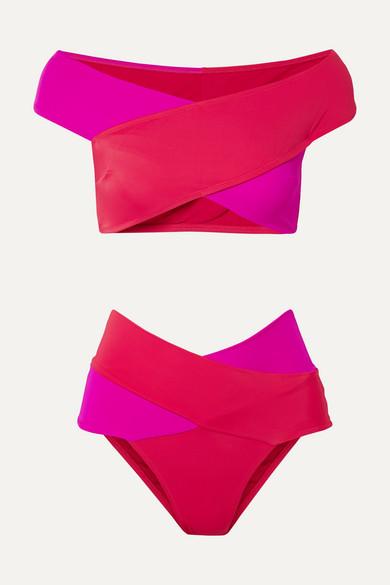 Bikini Épaules Nues Bicolore Lucette - Rouge
