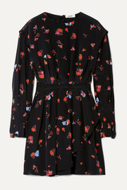 Jason Wu Pleated floral-print silk crepe de chine mini dress