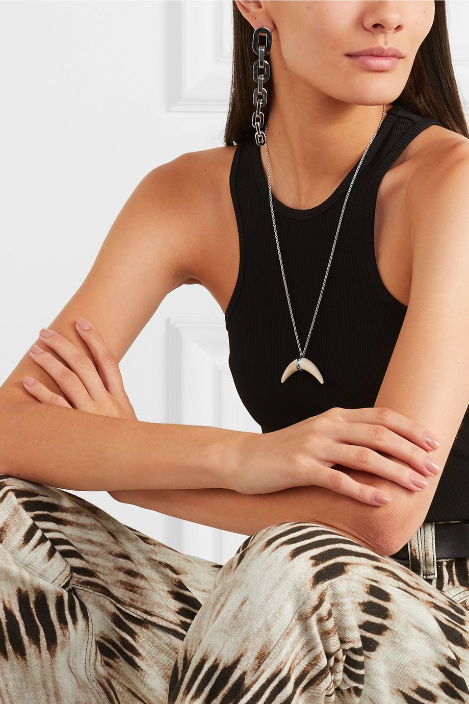 Isabel Marant Cap silver-tone and bone necklace