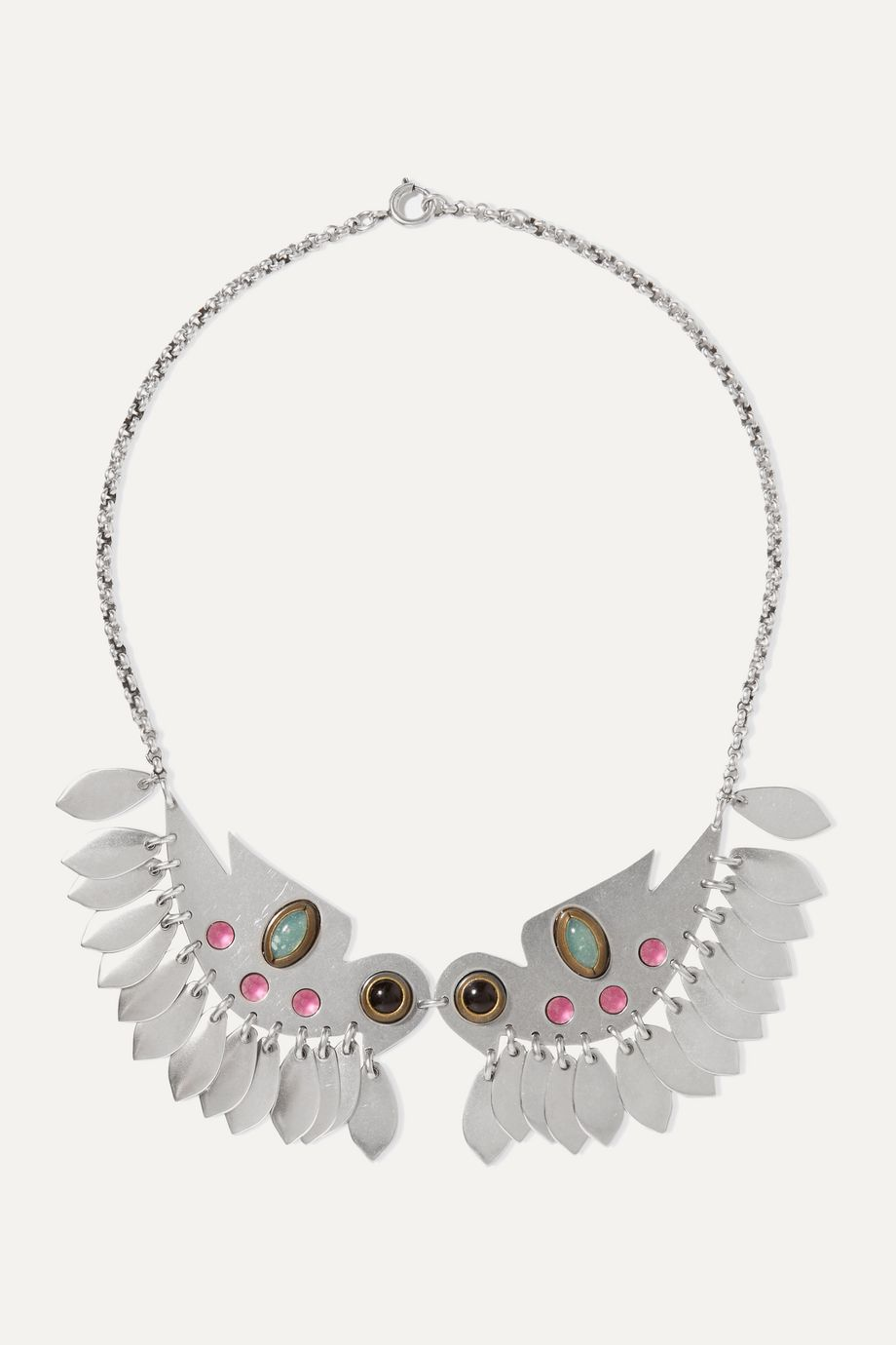 Isabel Marant Birdy silver-tone crystal necklace