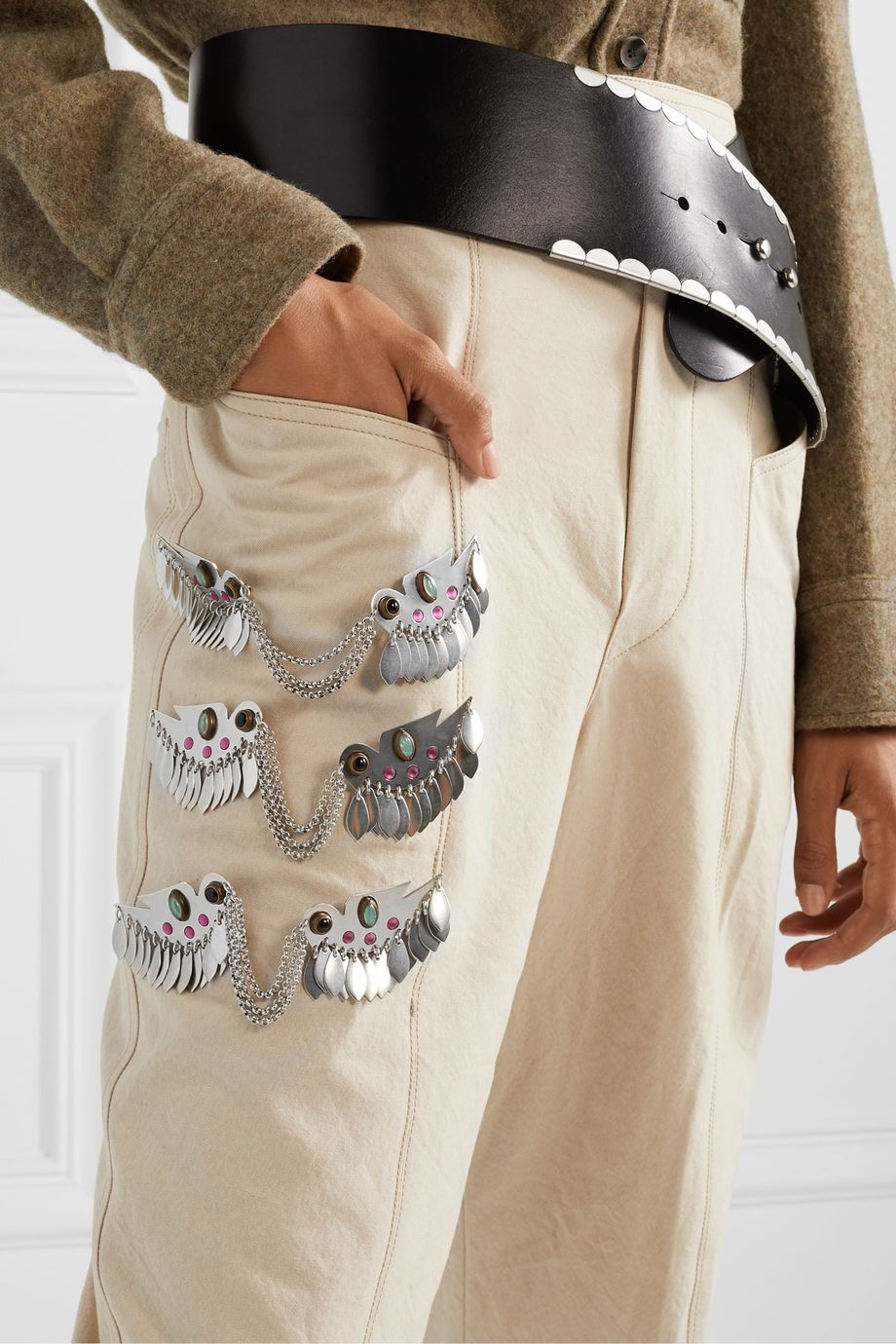 Isabel Marant Birdy silver-tone crystal brooch