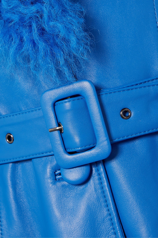 Saks Potts Foxy belted shearling-trimmed leather coat