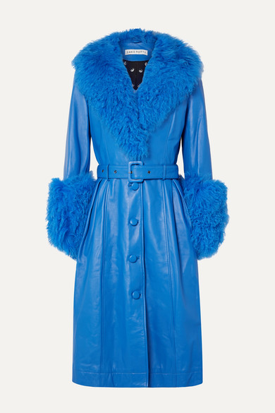 Saks Potts Coats Foxy belted shearling-trimmed leather coat