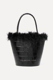 Feather-trimmed croc-effect leather tote