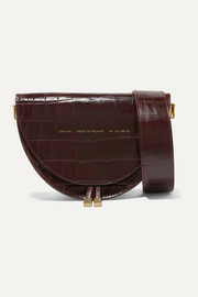 Medium glossed croc-effect leather shoulder bag