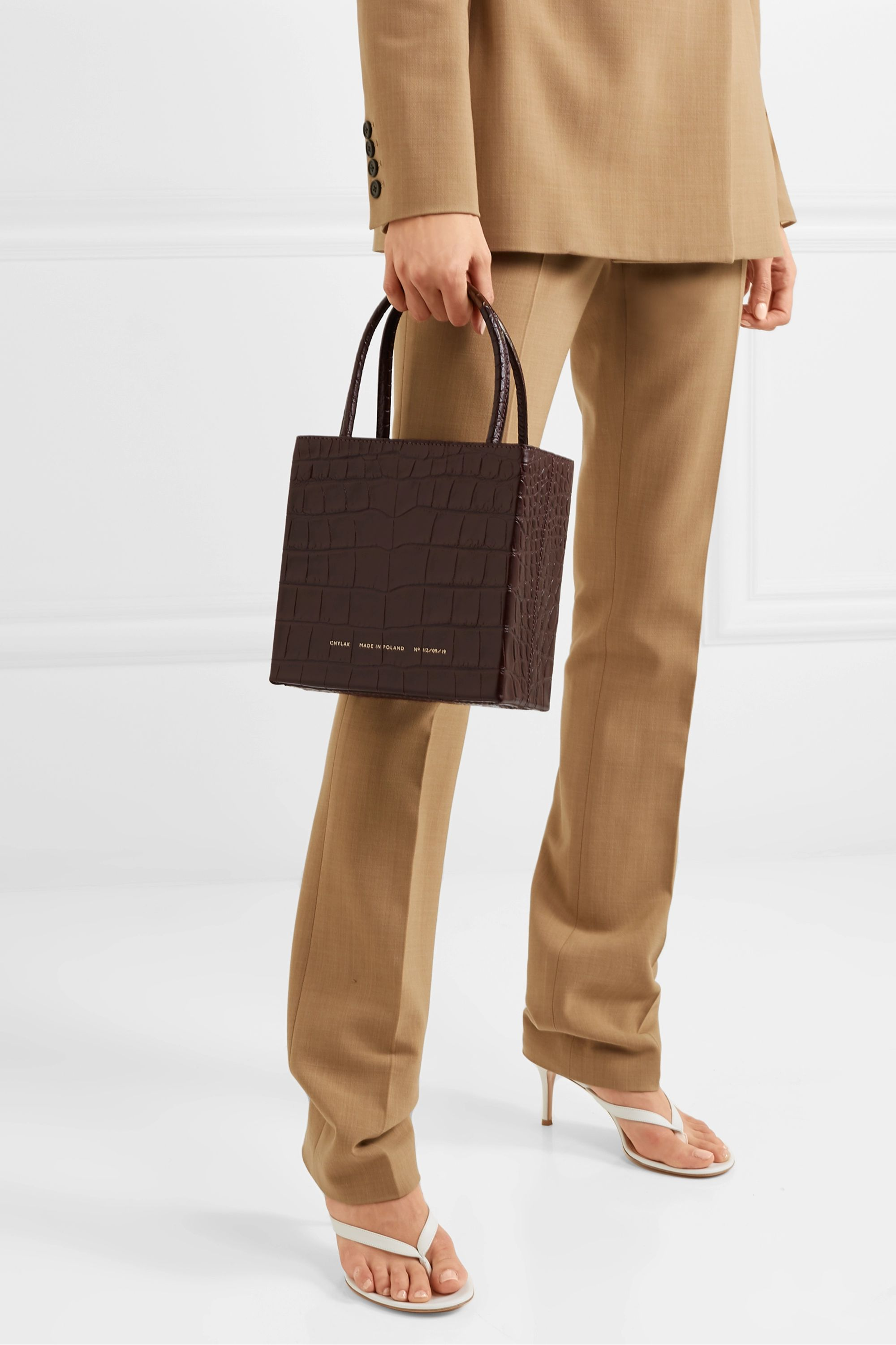 Chylak Square glossed croc-effect leather tote