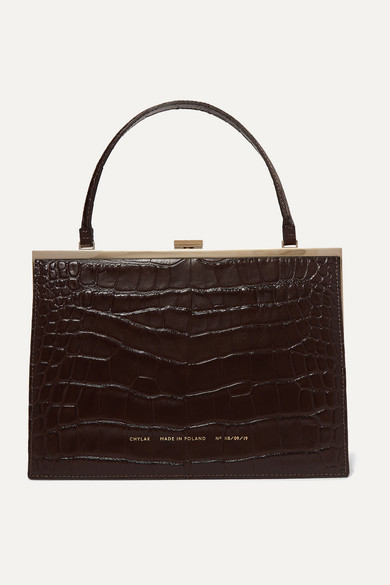 Vintage Clasp Croc Effect Leather Tote by Chylak