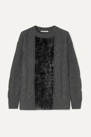 Paneled cable-knit cashmere and shearling sweater