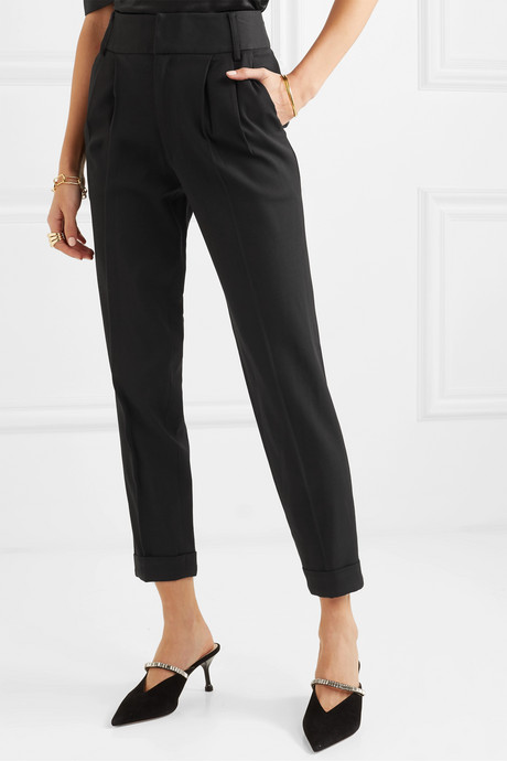 Pleated stretch-canvas tapered pants