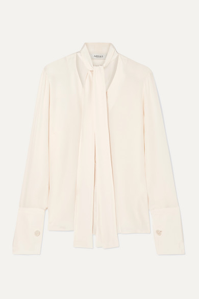 Arias Pussy-Bow Silk Crepe De Chine Blouse In White