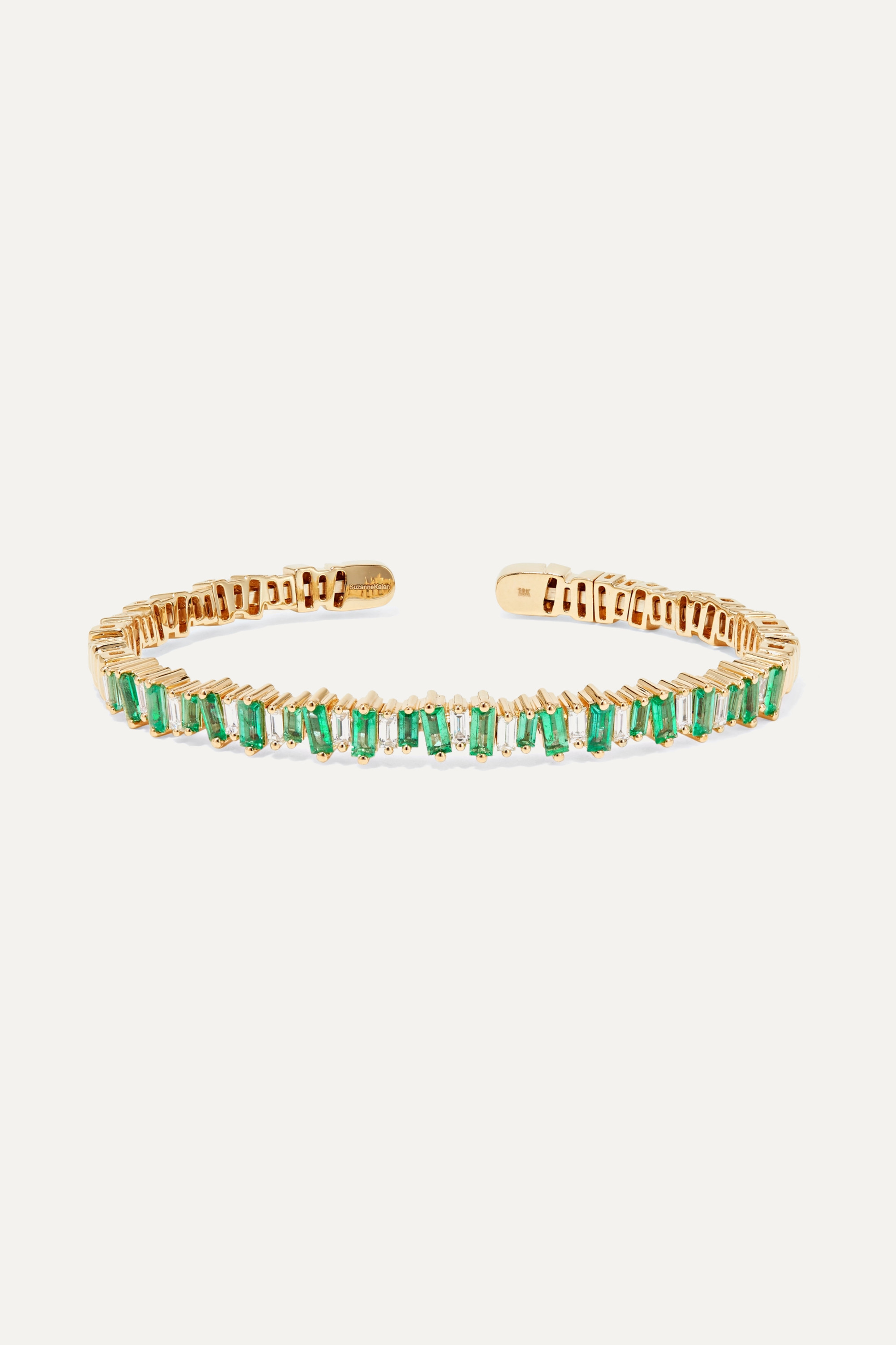 Suzanne Kalan 18-karat gold, emerald and diamond cuff