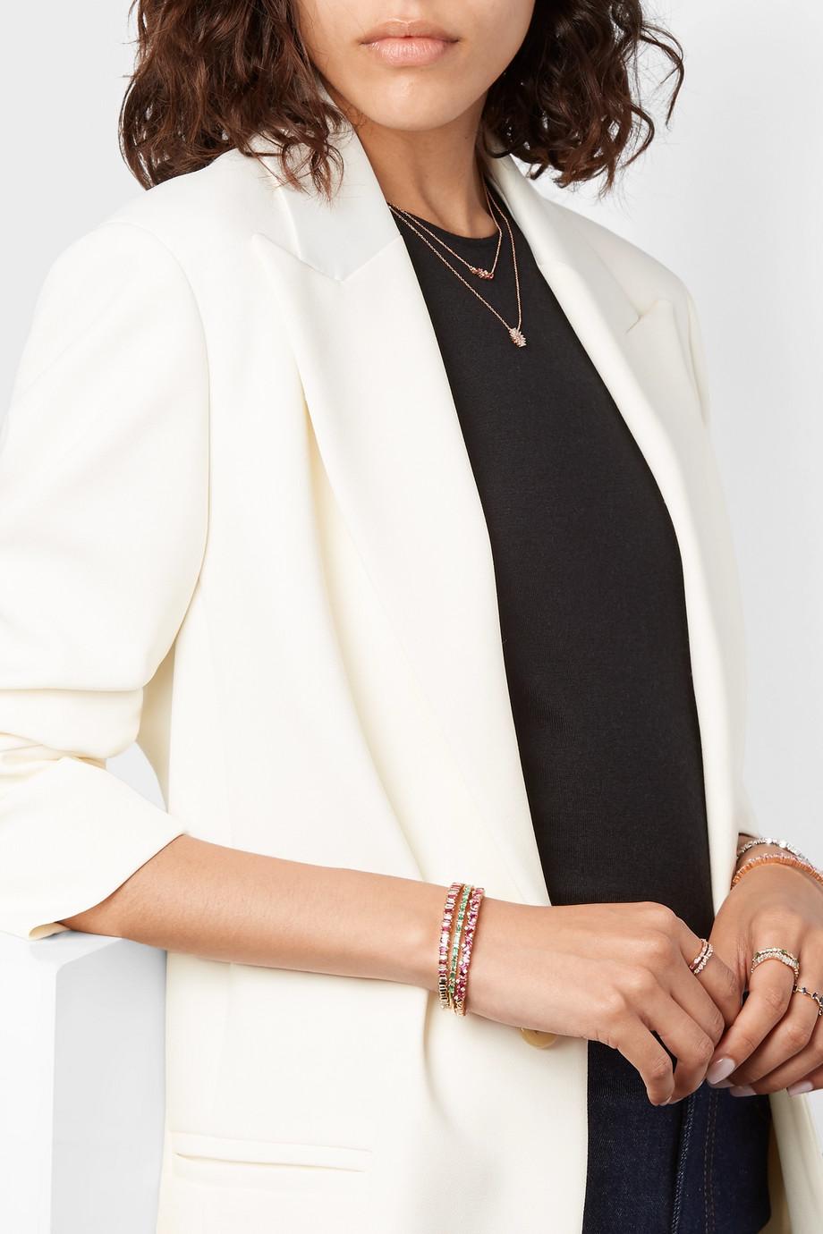 Suzanne Kalan 18-karat rose gold, ruby and diamond cuff