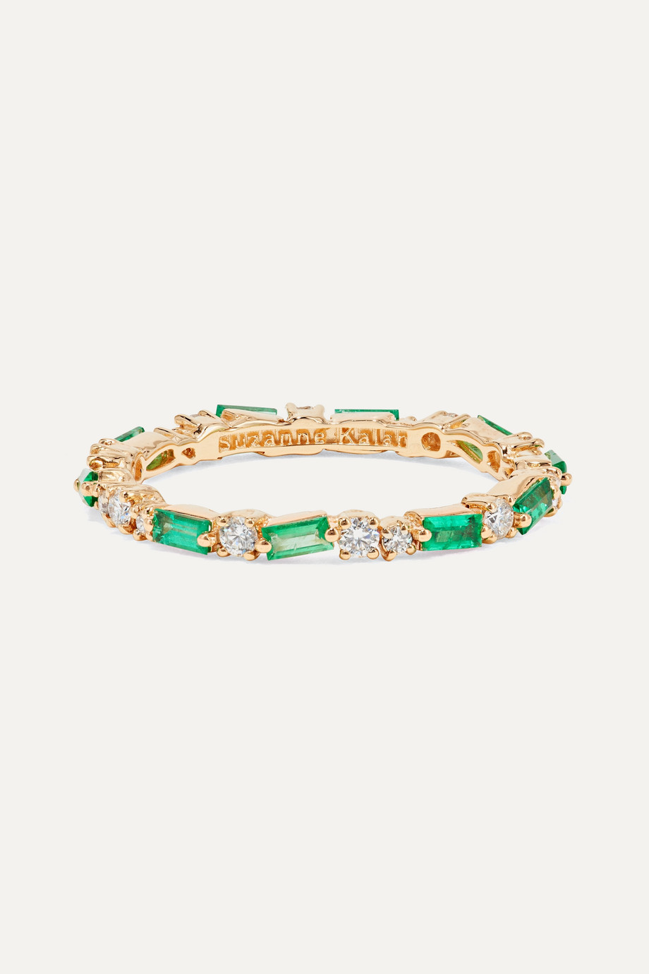 Suzanne Kalan 18-karat gold, emerald and diamond ring