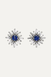18-karat white gold, diamond and sapphire earrings