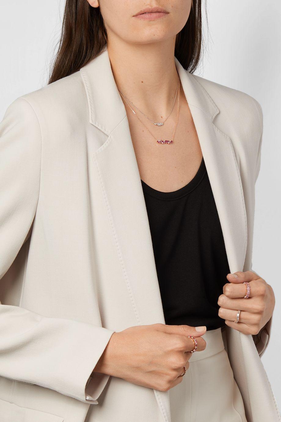 Suzanne Kalan Collier en or rose 18 carats, rubis et diamants