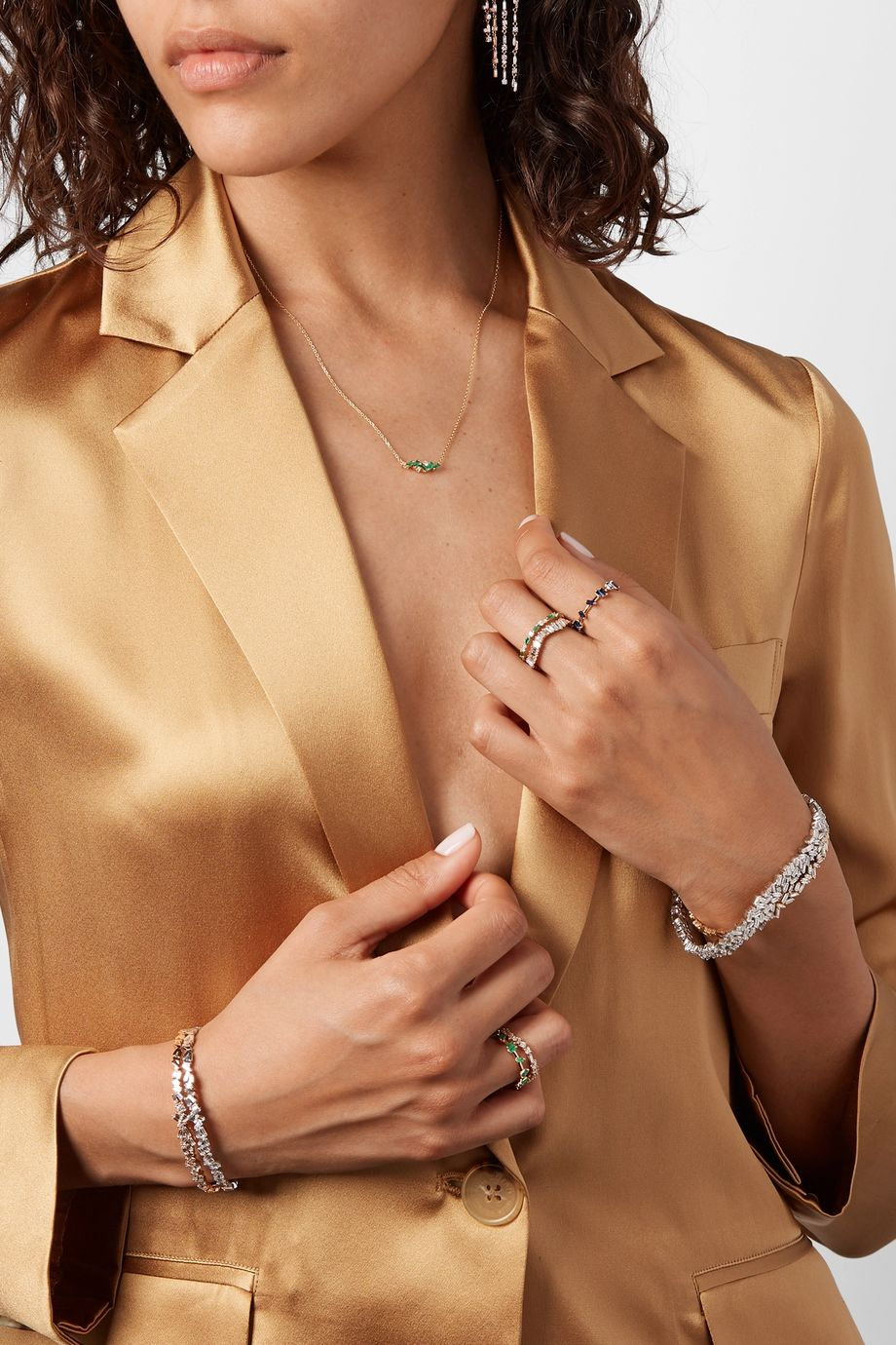 Suzanne Kalan Collier en or 18carats, émeraudes et diamants