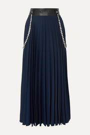 Christopher Kane Embellished leather-trimmed pleated cady maxi skirt