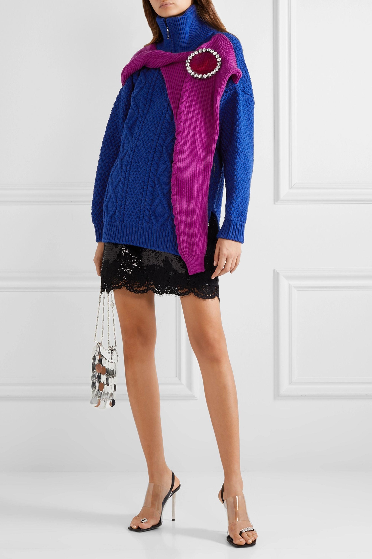 Christopher Kane Oversized crystal-embellished layered wool sweater