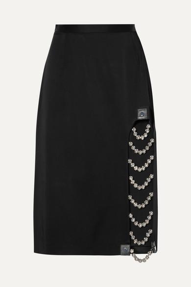 Embellished Leather Trimmed Satin Skirt by Christopher Kane