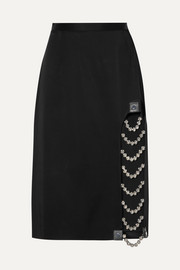 Christopher Kane Embellished leather-trimmed satin skirt