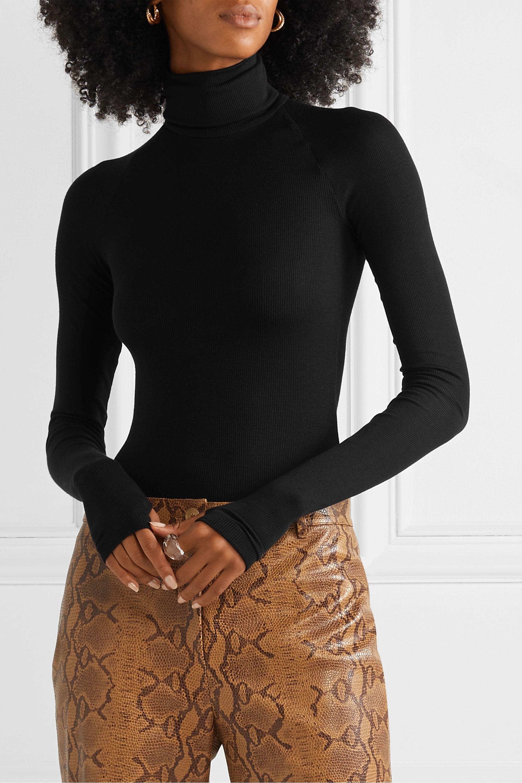 Alix NYC Varick ribbed stretch-modal turtleneck thong bodysuit