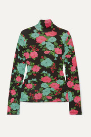 Kelly floral-print ribbed stretch-cotton turtleneck top