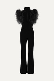 Dunaway feather-trimmed stretch-velvet jumpsuit