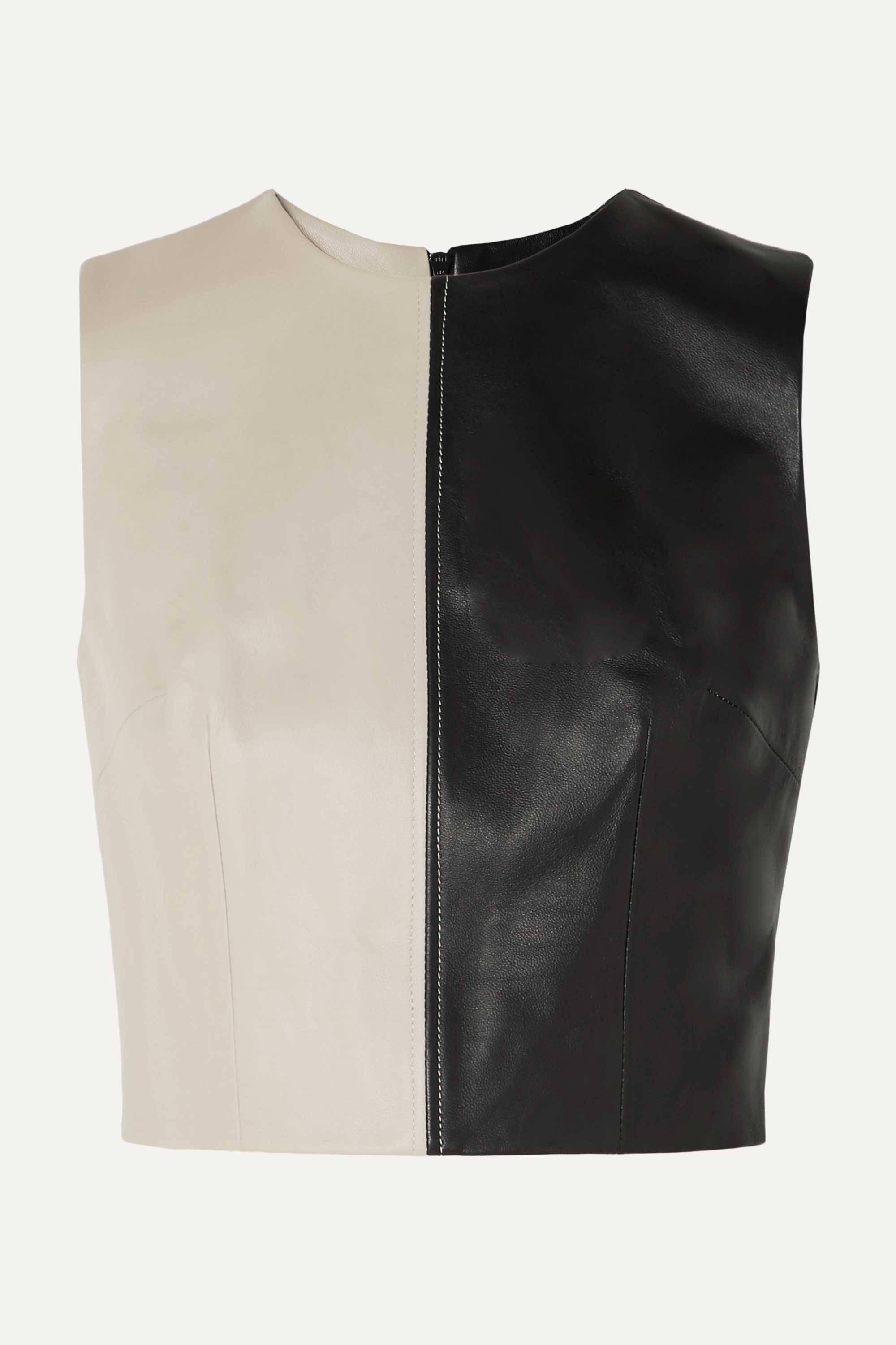 16ARLINGTON Dickinson cropped two-tone leather top