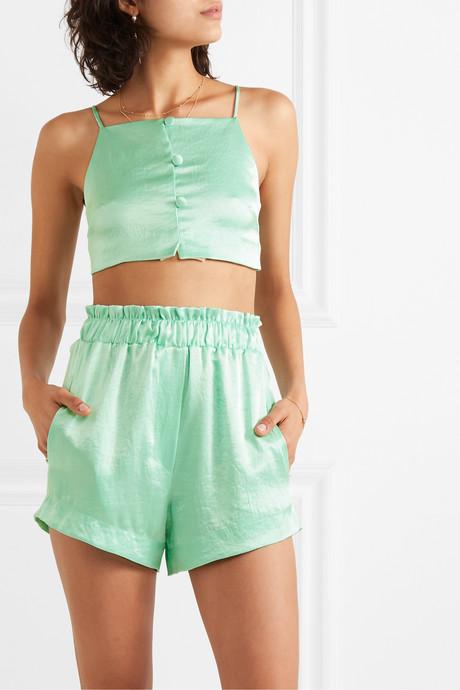 Lei ruffled hammered-satin shorts