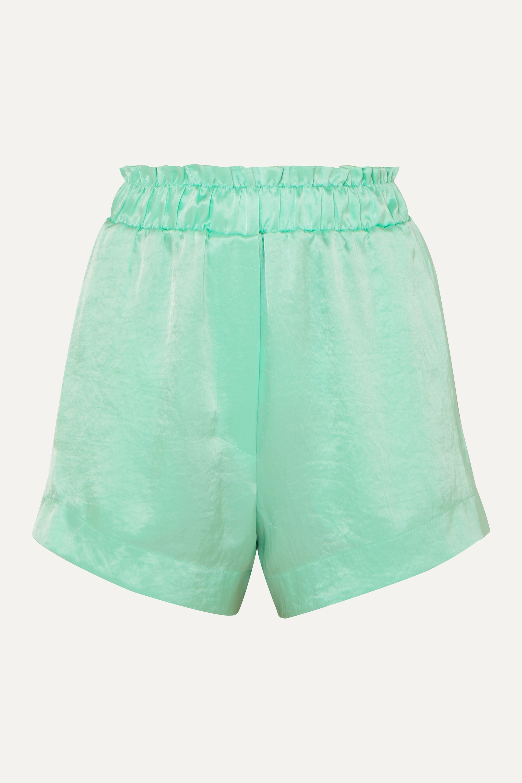 Nanushka Lei ruffled hammered-satin shorts