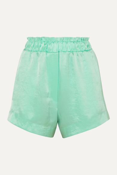 Nanushka Shorts Lei ruffled hammered-satin shorts