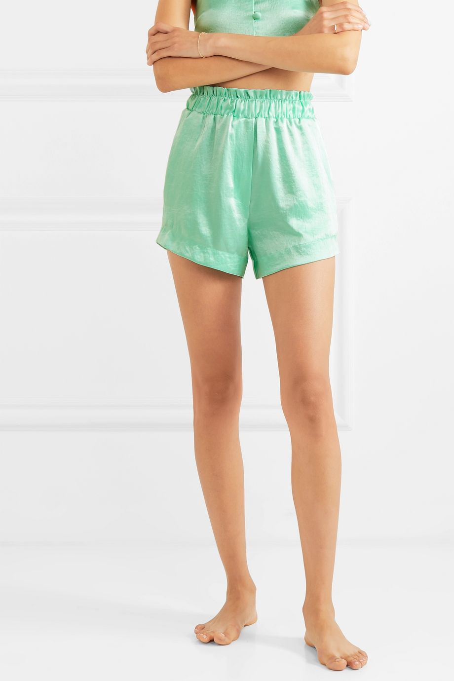 Nanushka Lei ruffled hammered-satin shorts