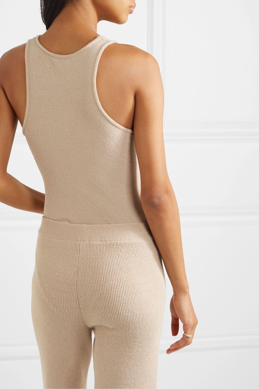 Nanushka Elena tie-detailed stretch cotton-blend terry bodysuit