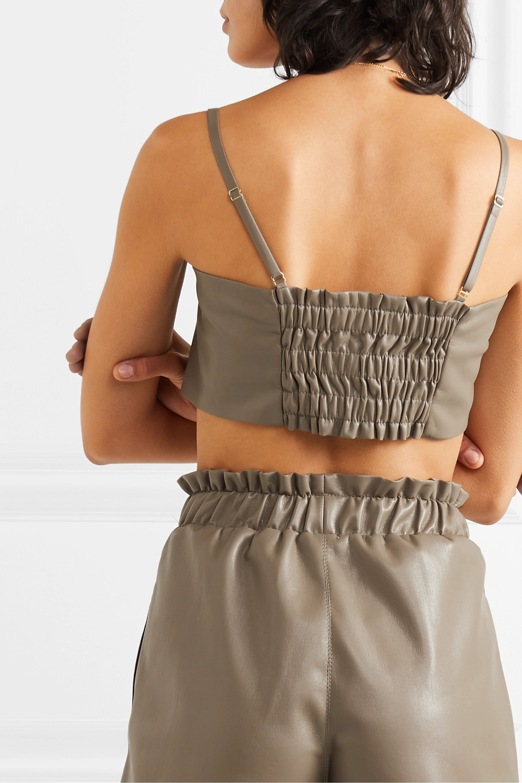 Nanushka Sili cropped knotted vegan leather top