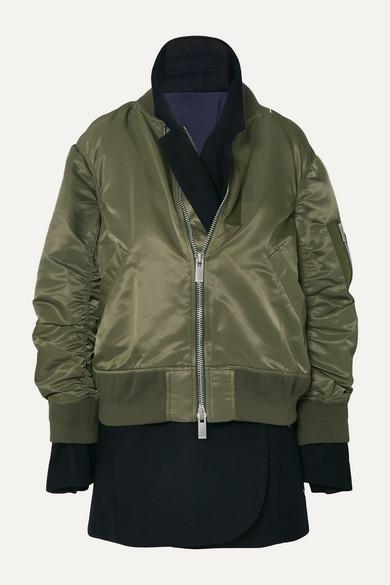 Sacai Jackets MA-1 x Melton asymmetric layered shell and wool-blend felt jacket