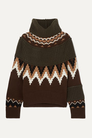Sacai Fair Isle and waffle-knit wool-blend turtleneck sweater