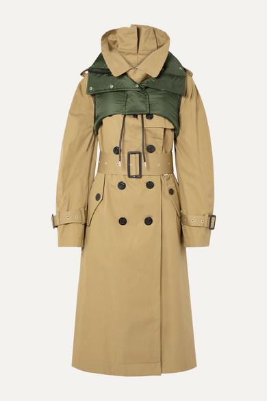 Sacai Coats Ripstop-trimmed cotton-gabardine trench coat