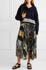 Sacai Asymmetric pleated printed crepe wrap midi skirt