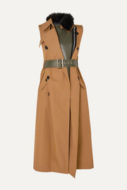 Sacai Faux fur-trimmed layered gabardine and leather vest