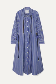 Sacai Gathered striped cotton-poplin midi dress
