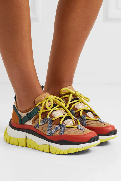 Blake mesh, leather and suede platform sneakers