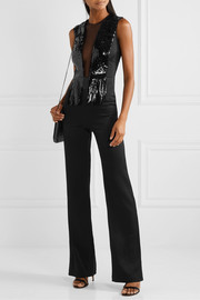 Lena tulle-trimmed sequined crepe jumpsuit