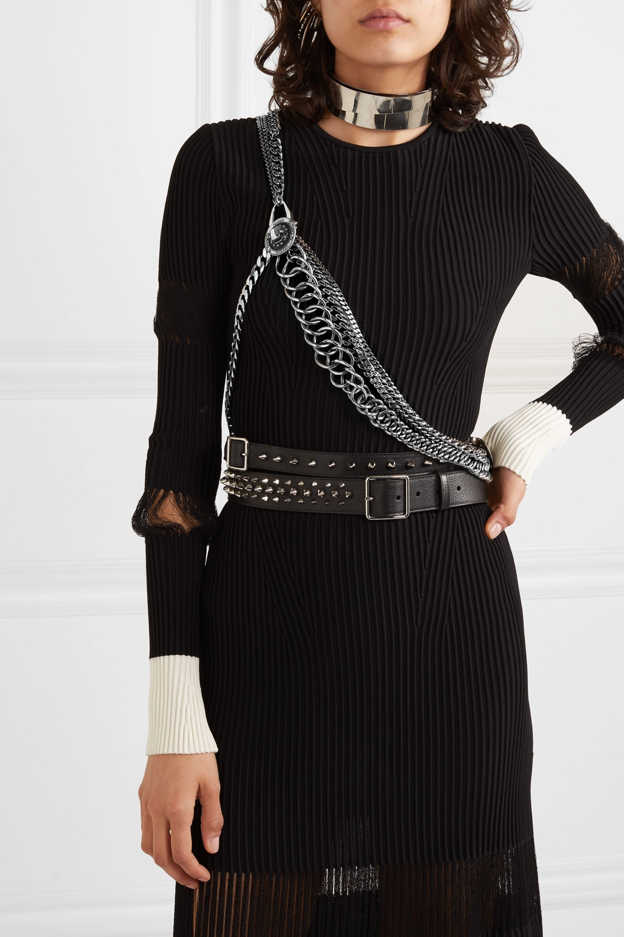 Alexander McQueen Silver-tone crystal body chain