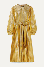 Pleated metallic silk-blend midi dress