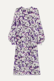 Marc Jacobs Floral-print crushed-velvet midi dress