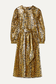 Marc Jacobs Pleated animal-print silk-blend lamé midi dress
