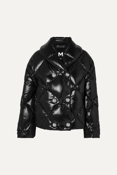 Balmain Coats Button-embellished quilted shell down jacket