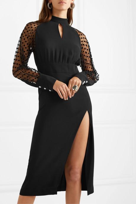 Flocked tulle and silk-crepe midi dress